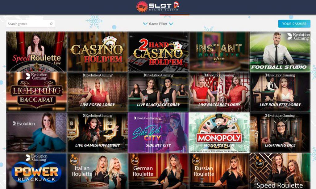 Live casino games on SlotV