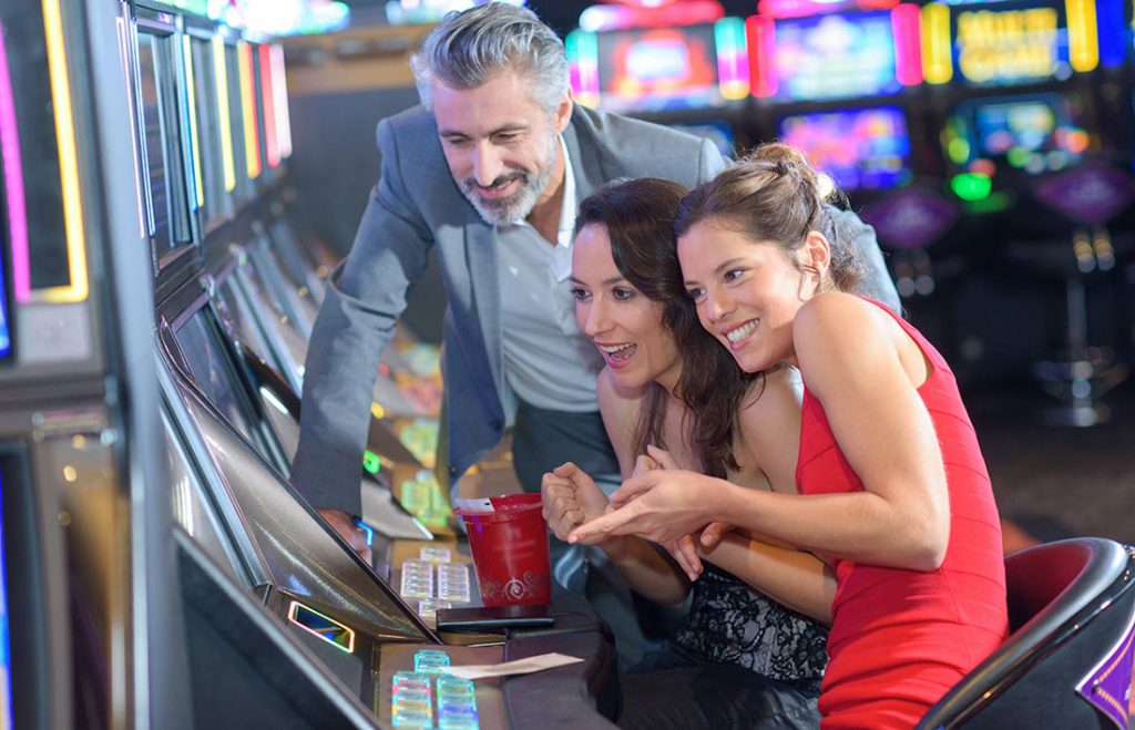 Having fun playing slots