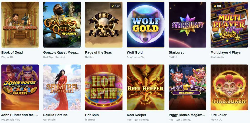 Popular games at Lucky Days casino