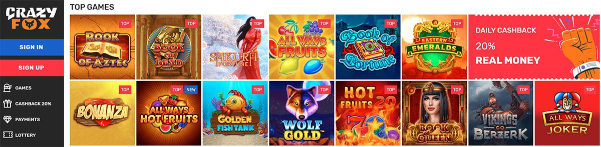 Popular games at Crazy Fox