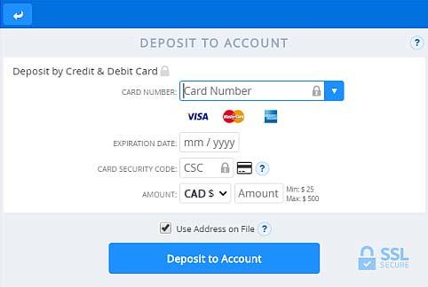 Making a deposit at an online casino using Mastercard