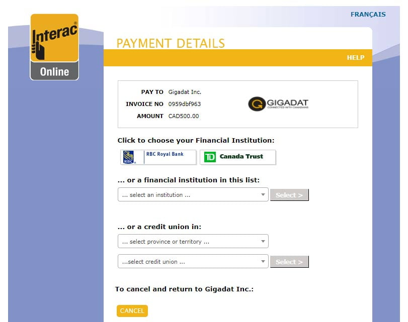 Making a $500 payment at an Interac casino online