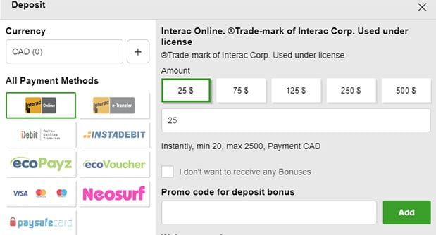 Selecting the Interac payment method to deposit real money at an online casino in Canada