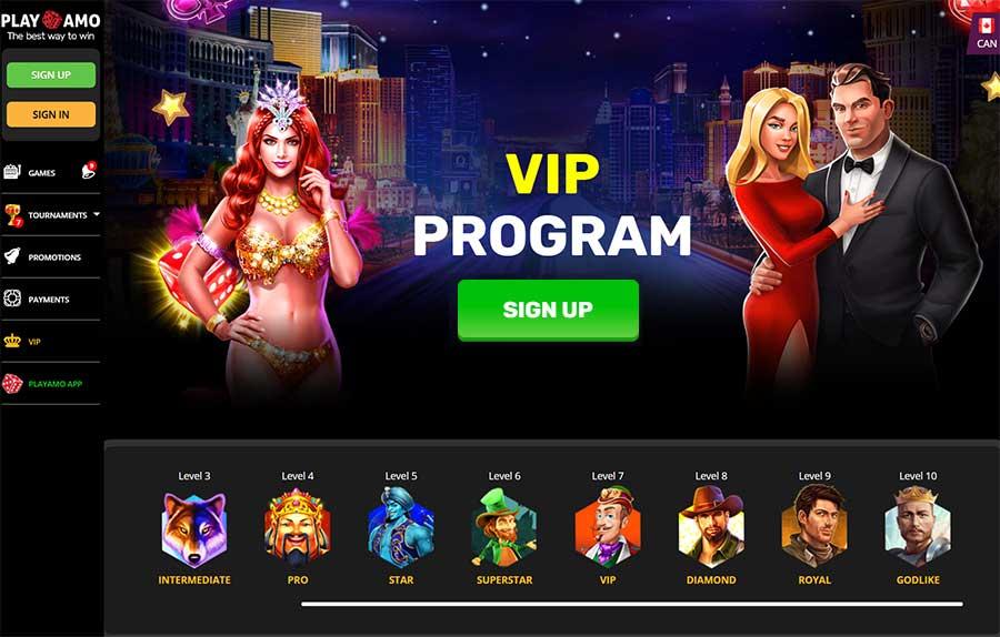 VIP program at Playamo casino