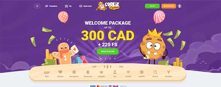 Screenshot of homepage for the Cookie casino review