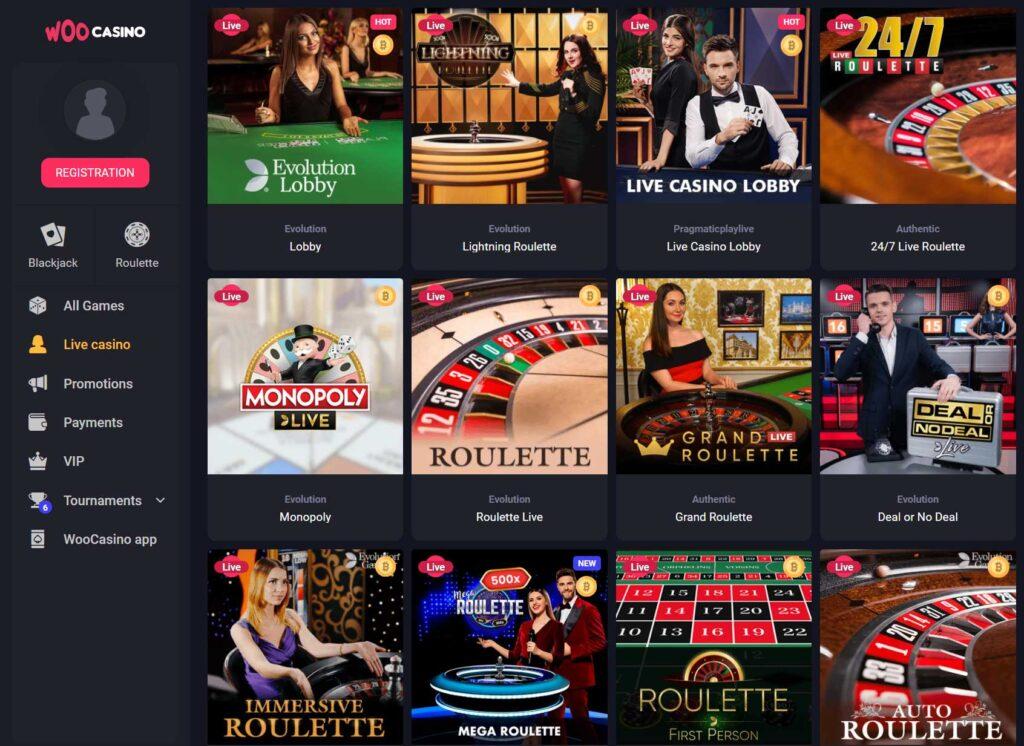 Live Casino games at Woo