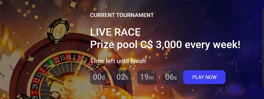 Live races and weekly Tournaments at the Casino