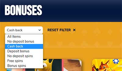 Filter for Bonus type like Cashback casinos