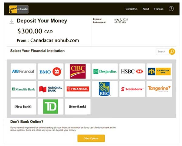 Interac e-transfer money - From Your Finacial Institution
