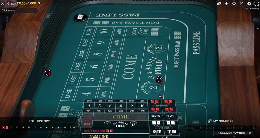 Layout of how an online Craps tabel looks like
