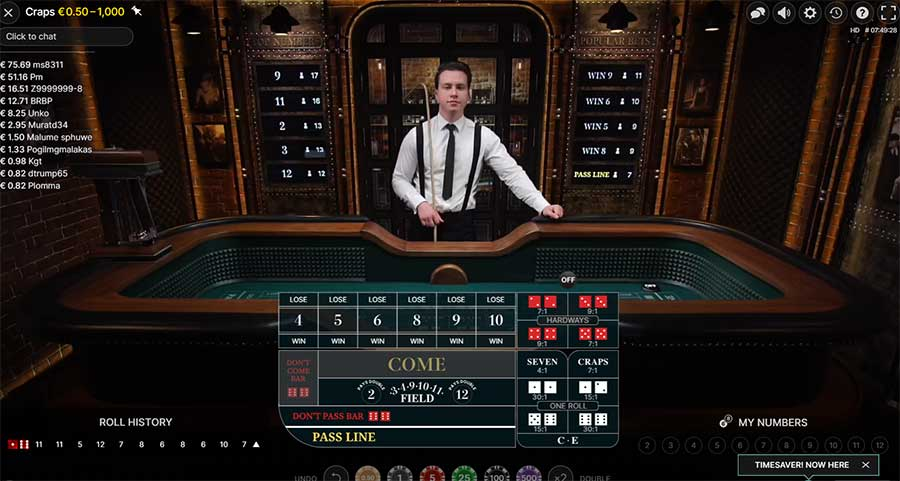 Playing online craps from Evolution at an online casino