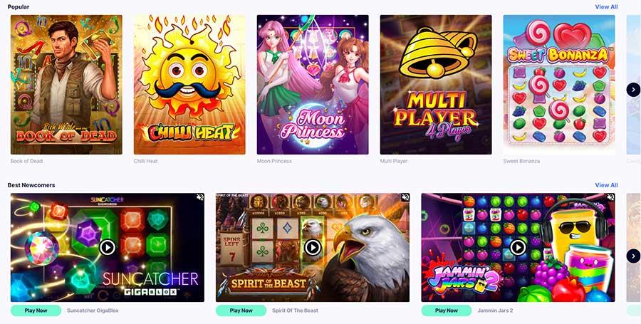Lobby com jogos de casino no CasinoFriday