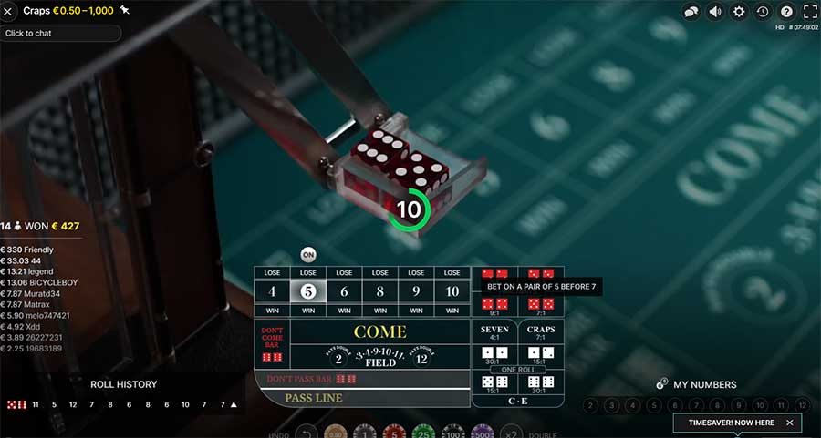 Placing bets playing Craps online