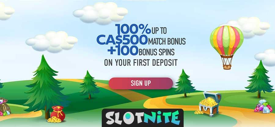 Oferta de boas-vindas do casino Slotnite para o Canadá