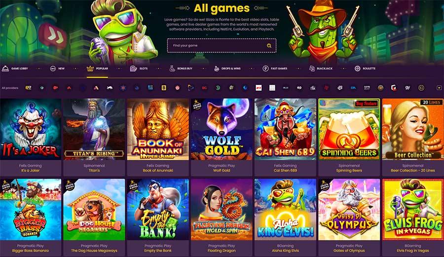 Jogos Bizzo. Lobby de jogos, nova gagem, jogos populares, caça-níqueis, compra de bônus, jogos rápidos. Roleta e Blackjack