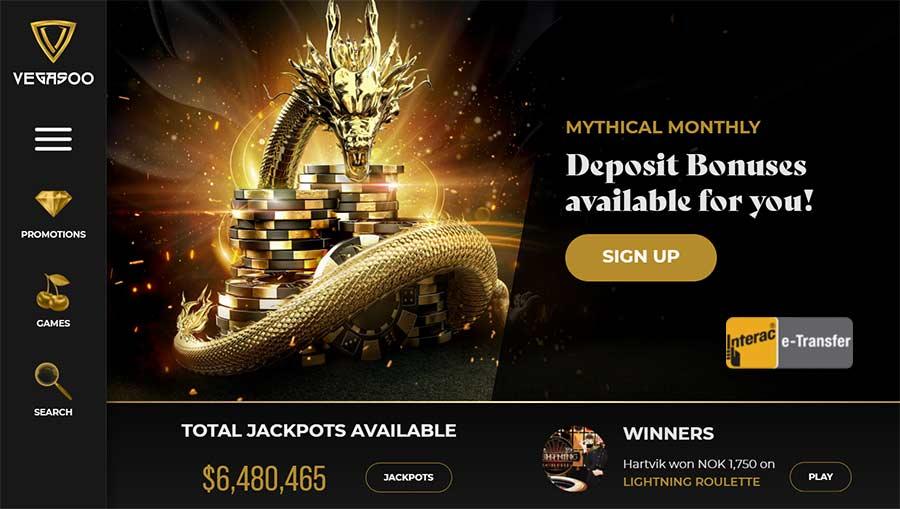 Vegasooカジノウェルカムページの新しいプレーヤー